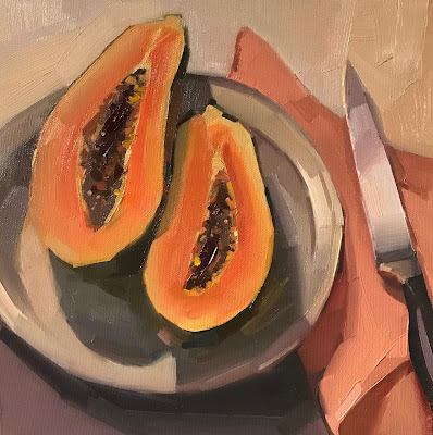 papaya painting art still life sarah sedwick