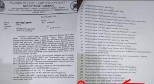 Suratnya Ajak Ormas Terlarang HTI Perangi Corona, Pemprov Jabar Minta Maaf