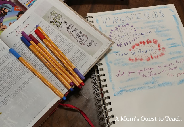 Pens, Bible opening to Colossians, Proverbs bible journaling page