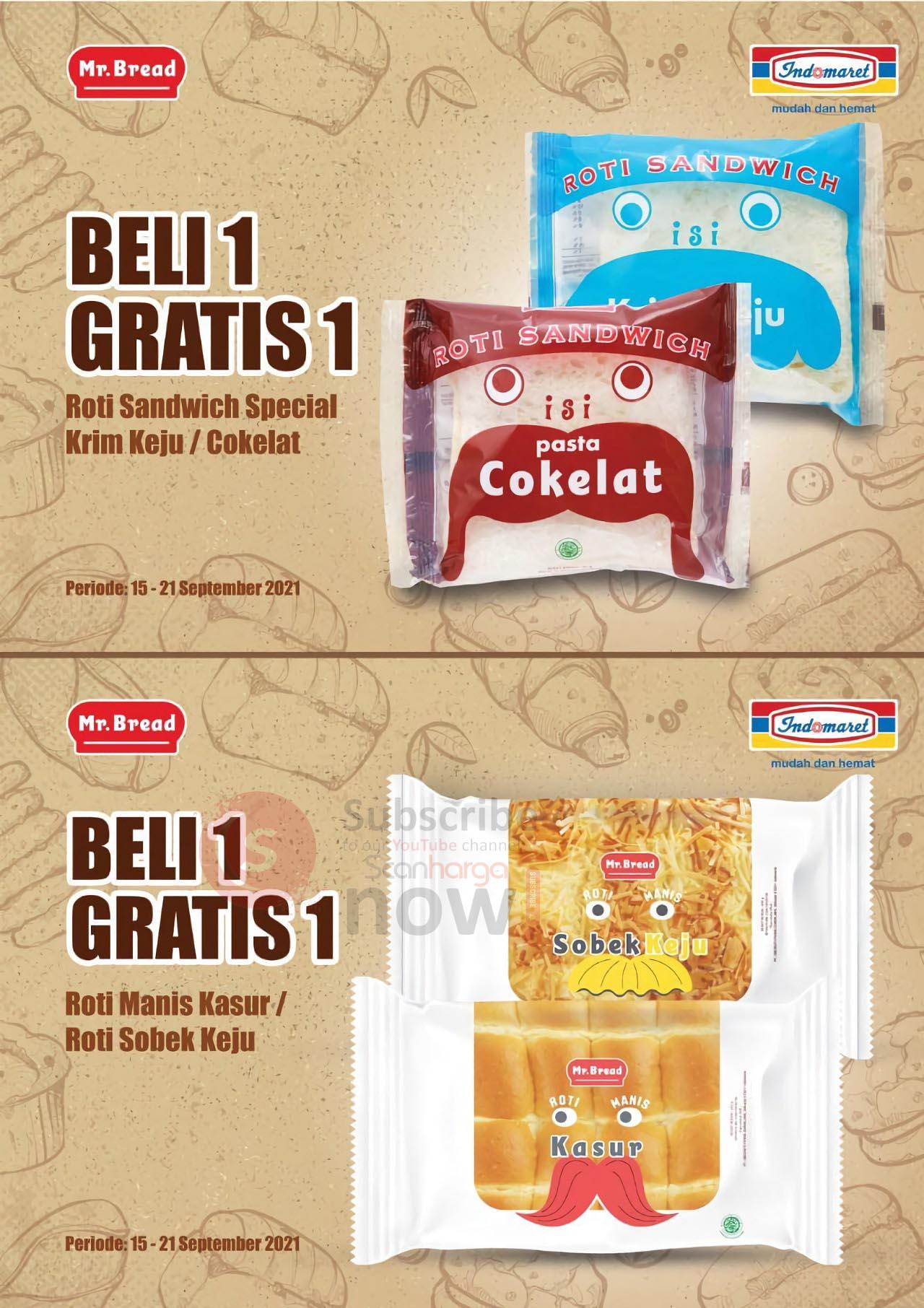 Promo Mr Bread Roti Indomaret Beli 1 Gratis 1 Periode 15 - 21 September 2021 2