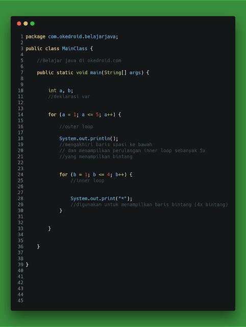 contoh code latihan perulangan bintang awal di java