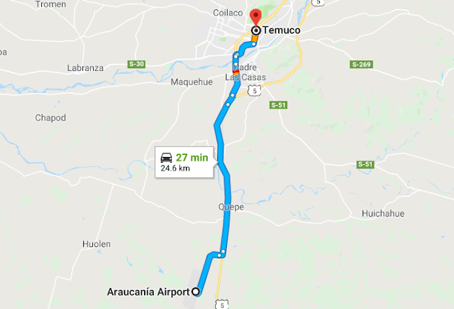 Como ir do aeroporto de Temuco até o centro turístico