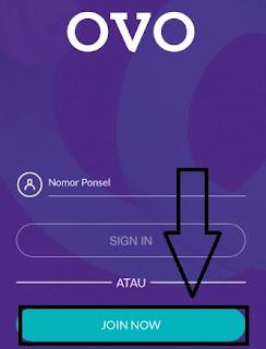 Klik join now atau sign up untuk Mendaftar Ovo