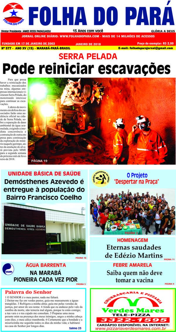 SAIU A NOVA EDIÇÃO DA FOLHA DO PARÁ - VEJA AS PÁGINAS