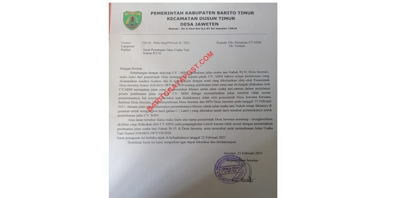 CV MJM Gunakan Jalan Usaha Tani untuk Mengangkut Galian C, Kades Jaweten: Tidak Sesuai Peruntukannya