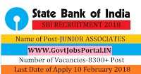 State Bank of India Recruitment 2018- 8300+ JUNIOR ASSOCIATES Officer