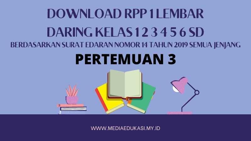 Download RPP 1 Lembar Daring Kelas 1 2 3 4 5 6 SD/MI Berdasarkan Surat Edaran Nomor 14 Tahun 2019 Pertemuan 3