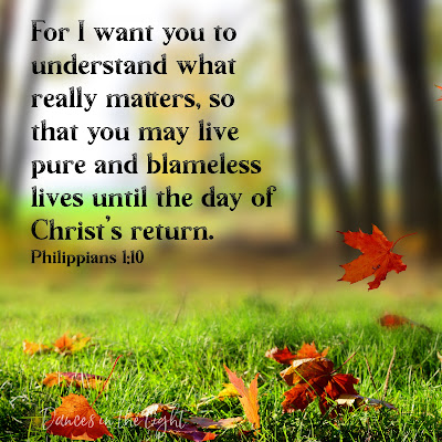 For I want you to understand what really matters, so that you may live pure and blameless lives until the day of Christ's return. Philippians 1:10