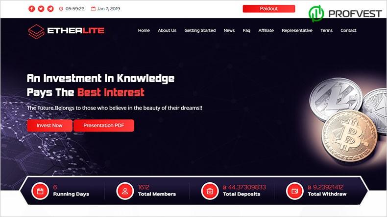 Etherlite обзор и отзывы HYIP-проекта