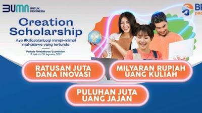 Beasiswa BRI Peduli Creation (Creative in Action) Scholarship Tahun 2021/2022