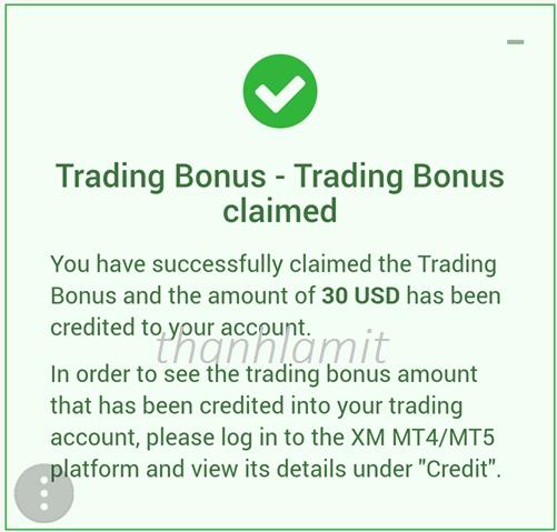 Nhận XM Bonus Thành Công