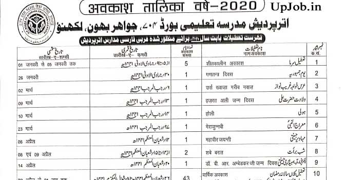 UP Madarsa Siksha Board Holiday and Time Table List 2020-21