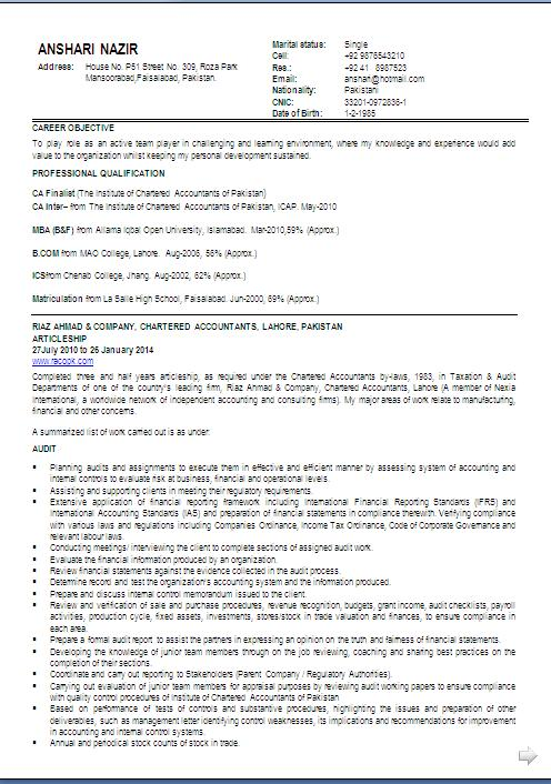 canadian resume format free download