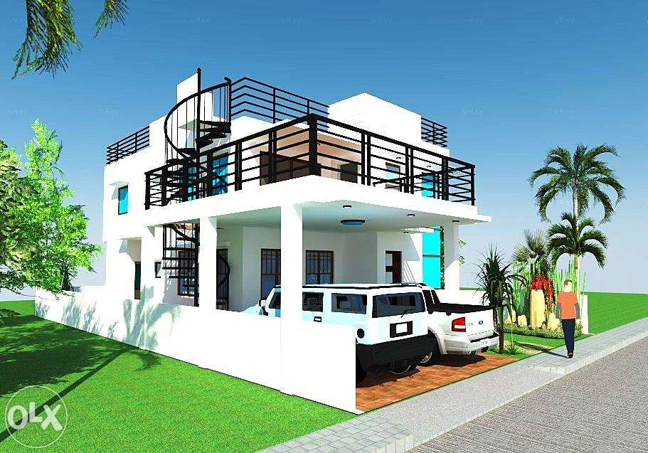 side%2Bview%2B2%2Bstorey%2Bhouse%2Bwith%2Broof%2Bdeck%2Band%2Bspiral%2Bstairs%2Bon%2Bterrace - Download Small House Design 2 Storey With Rooftop Pics