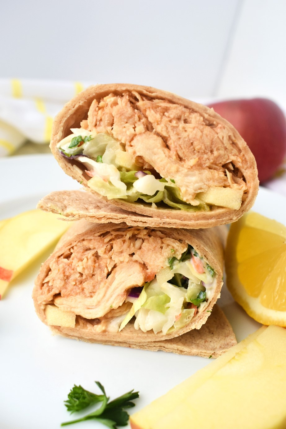 BBQ Chicken Wraps with Coleslaw