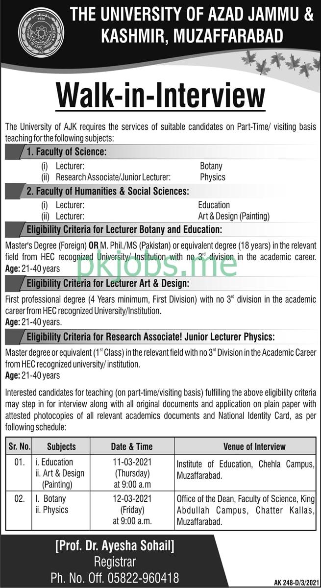Latest The University of AJK Education Posts 2021