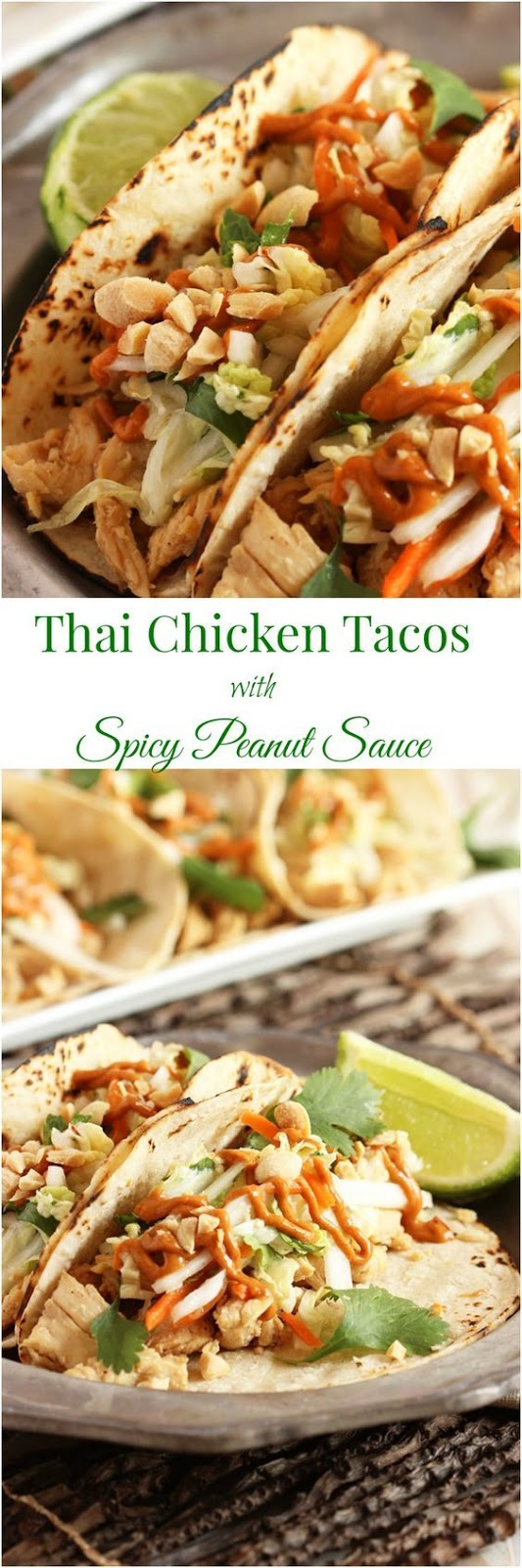 Thai Chicken Tacos with Spicy Peanut Sauce