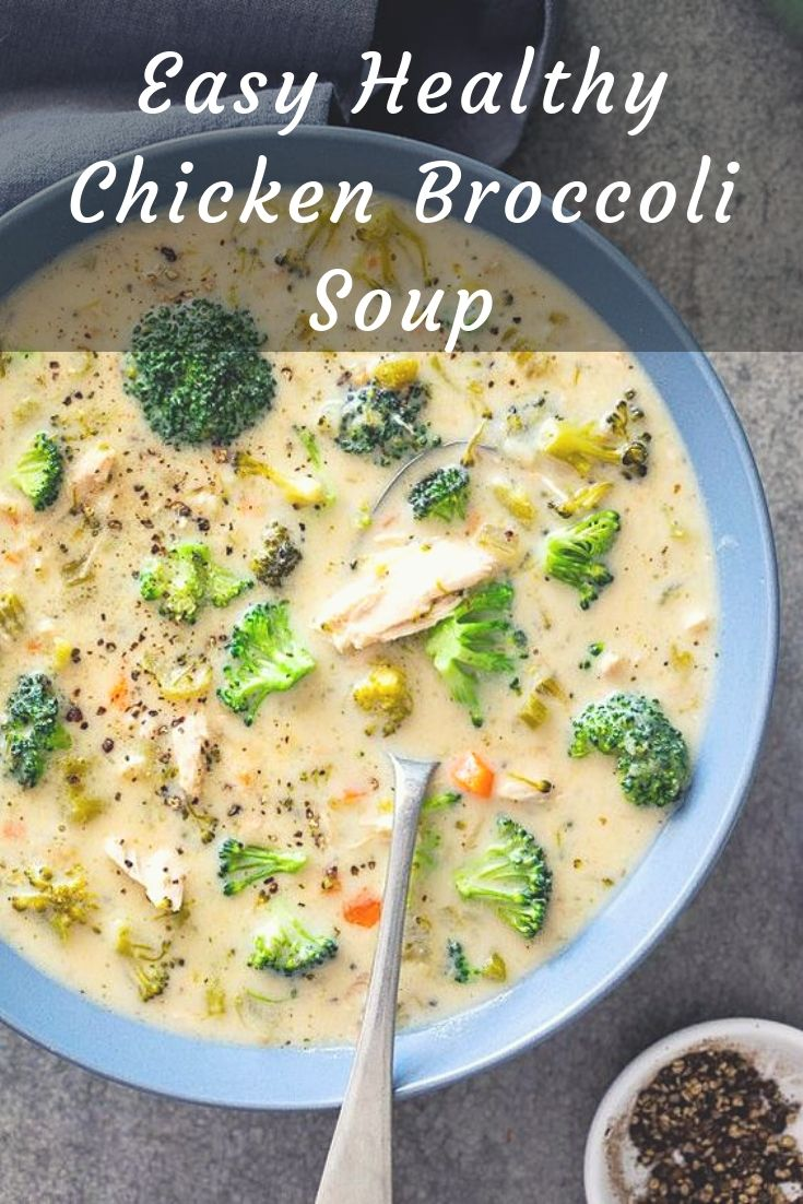 This easy healthy chicken broccoli soup is the perfect simple recipe for cozy winter dinners. Easy comfort food in a bowl served with crusty bread.