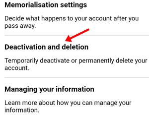 deactivation and delation par click kare