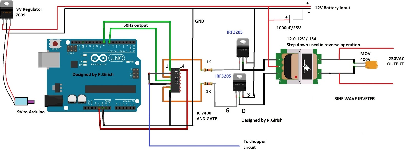 Simple Arduino Modified Sine Wave Inverter Circuit