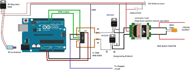 Simple Arduino Sine Wave Inverter Circuit