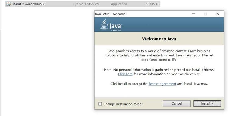 Hình 7. Nhấn Install để cài đặt Java 8