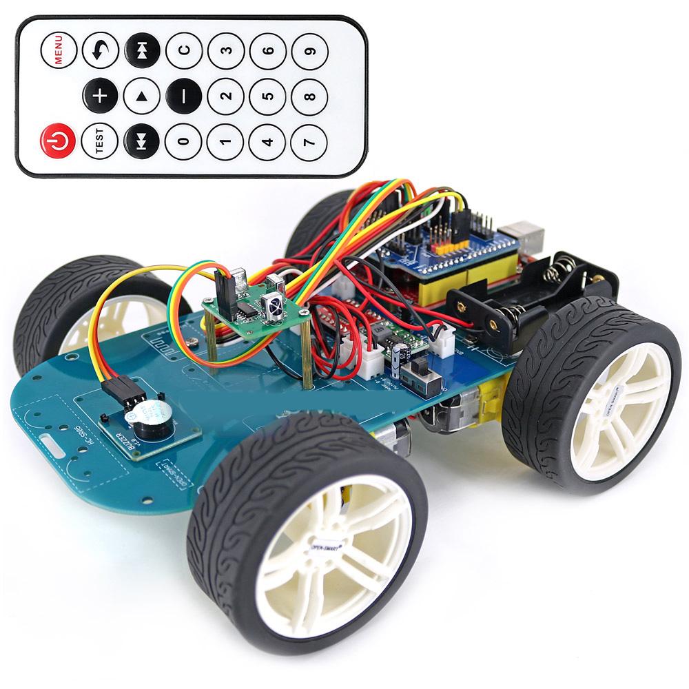 4WD Wireless IR Remote Control Smart Car Arduino Kit for