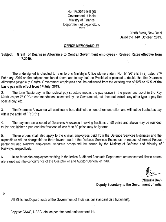 India Post DA order effective from 01.07.19