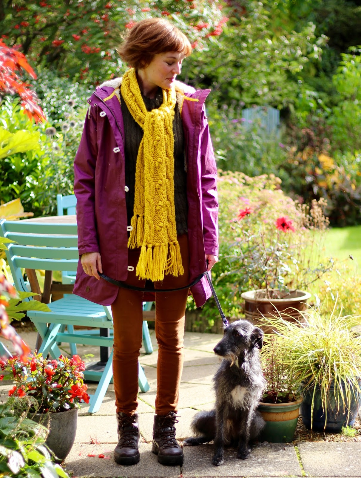 Fake Fabulous | Plum waterproof lighthouse coat, tobacco jeans, yellow scarf and walking boots.