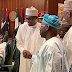 President Buhari, Obasanjo all smiles as they shake hands at Council of State meeting in Abuja today