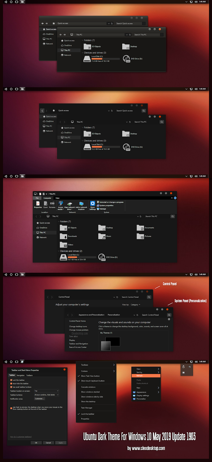 Ubuntu Dark Theme For Windows10 May 2019 Update 1903