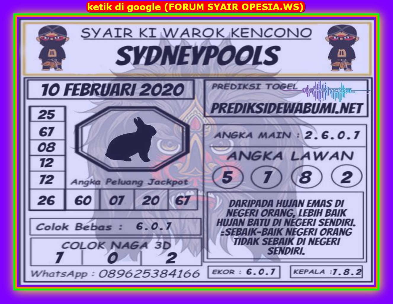 Kode syair Sydney Senin 10 Februari 2020 142