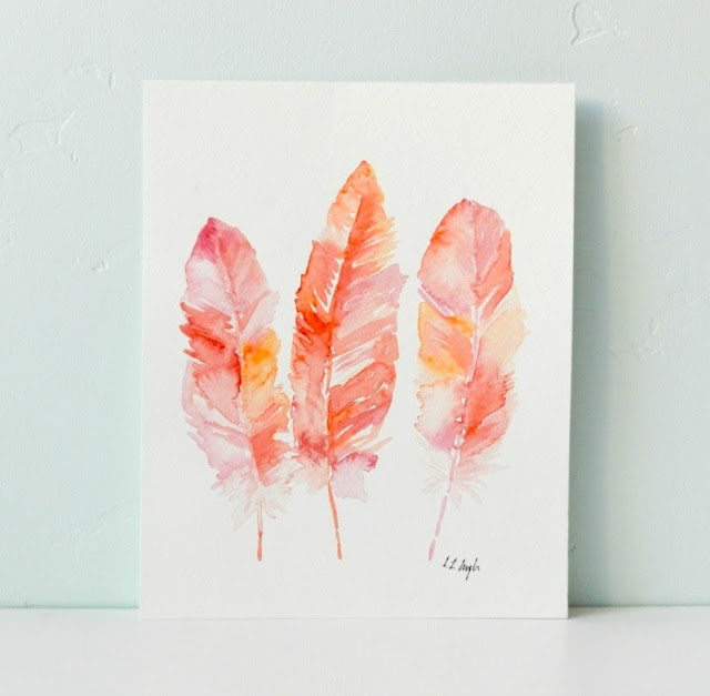 Original Coral and Pink Watercolor Feather Painting