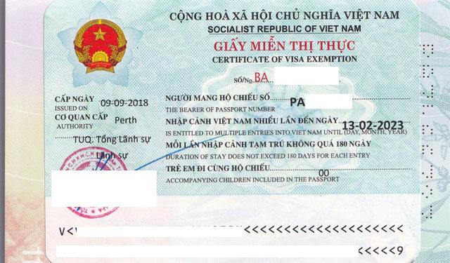 Dịch vụ làm giấy miễn thị thực Việt Nam