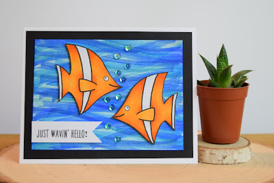 Hello Fish Card featuring Jess Crafts Digitals Fish Friends by Jess Gerstner