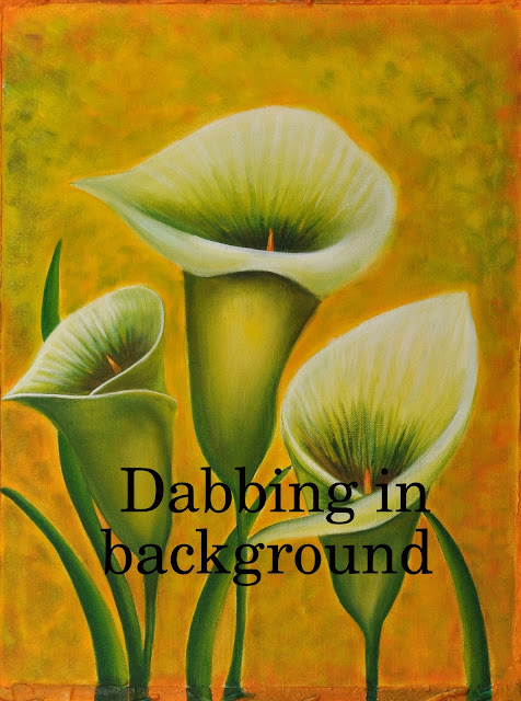 Floral Painting of white Lily with dabbing in background