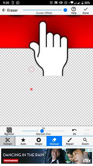 Setelah itu eraser manual dan besar kecilnya size bisa di geser kanan kiri