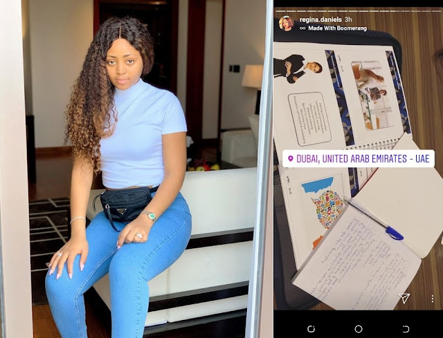 Regina Daniels Drops Out Of Igbinedion University, Begins Study In UAE (Photos)