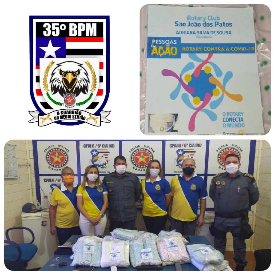 35º BPM RECEBE A DOAÇÃO DE 1.000 MÁSCARAS DO ROTARY CLUB DE SÃO JOÃO DOS PATOS-MA