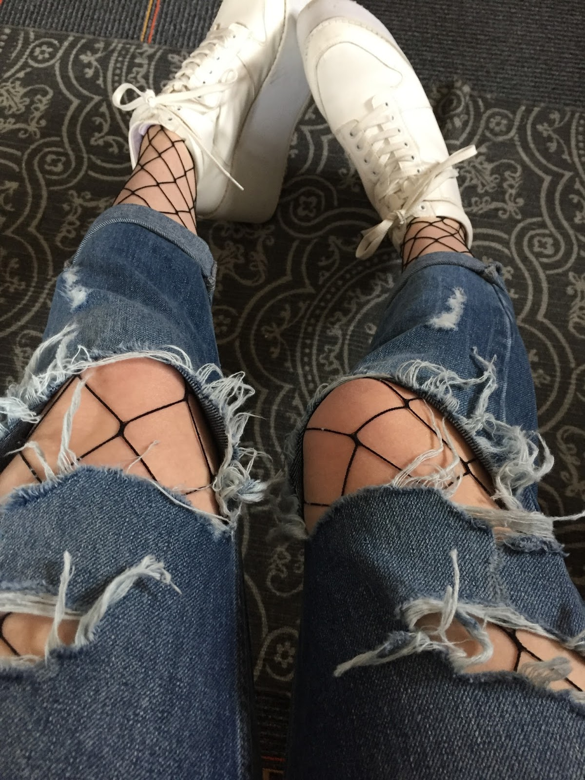 fishnets ripped jeans