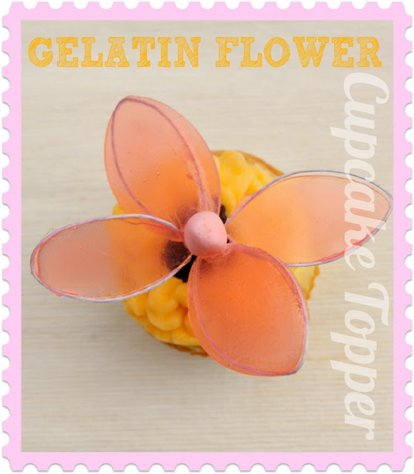 DIY Gelatin Flower Cupcake Topper - via BirdsParty.com