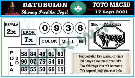 Datubolon Toto Macau Jumat 17 September 2021