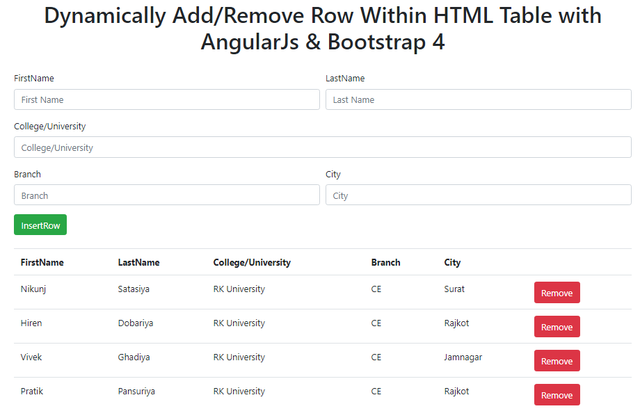 Dynamically Add and Remove Row Within HTML Table Using