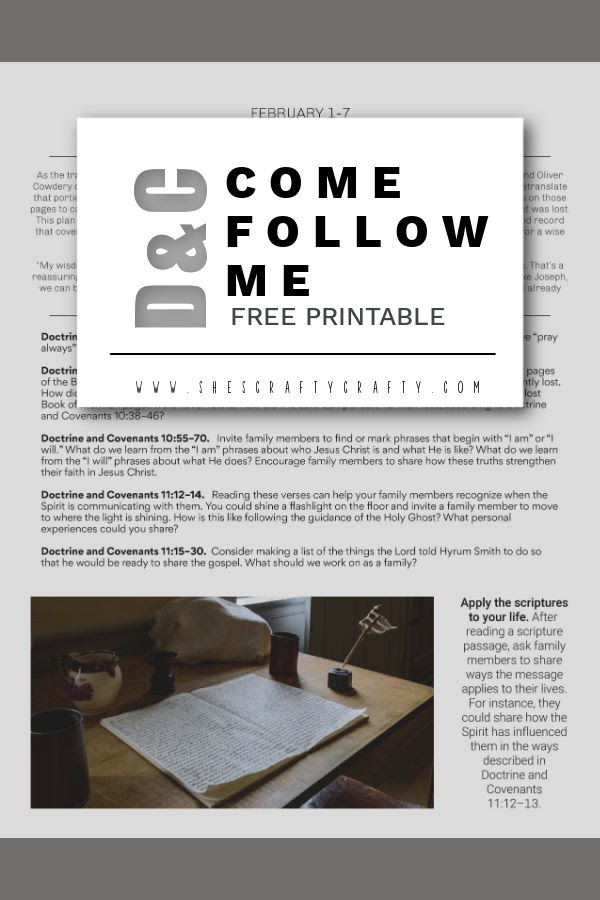 Free Printable Come Follow me Home study lesson_D&C 10-11
