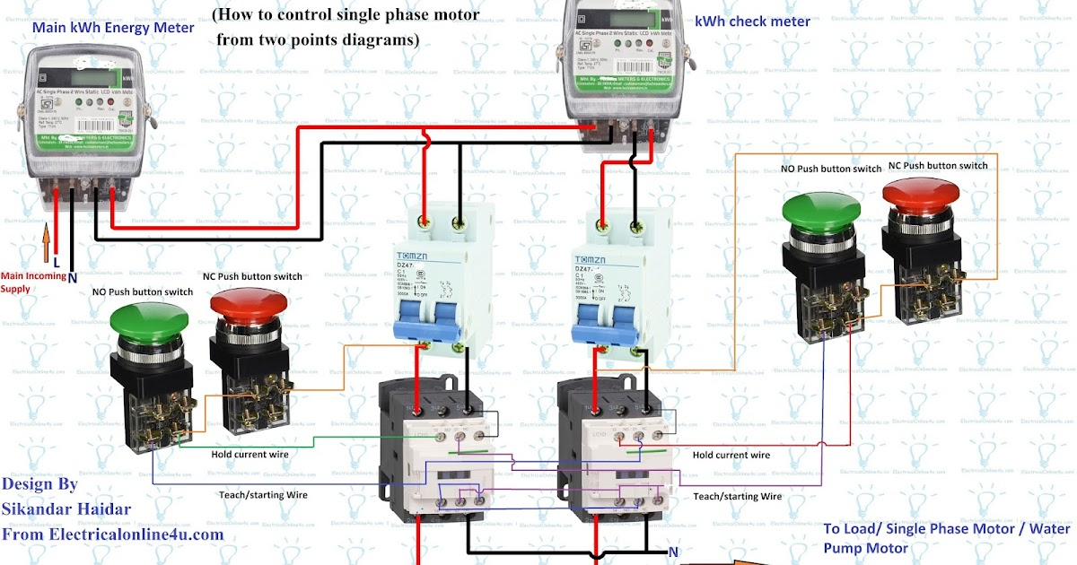 single phase kwh meter wiring diagram cilia animal cell how to control motor from two points | electrical online 4u
