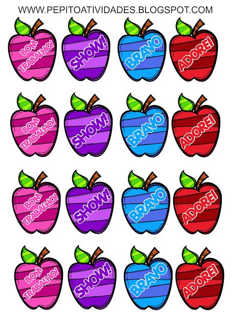 Incentivos em formato de maçã para colar no caderno