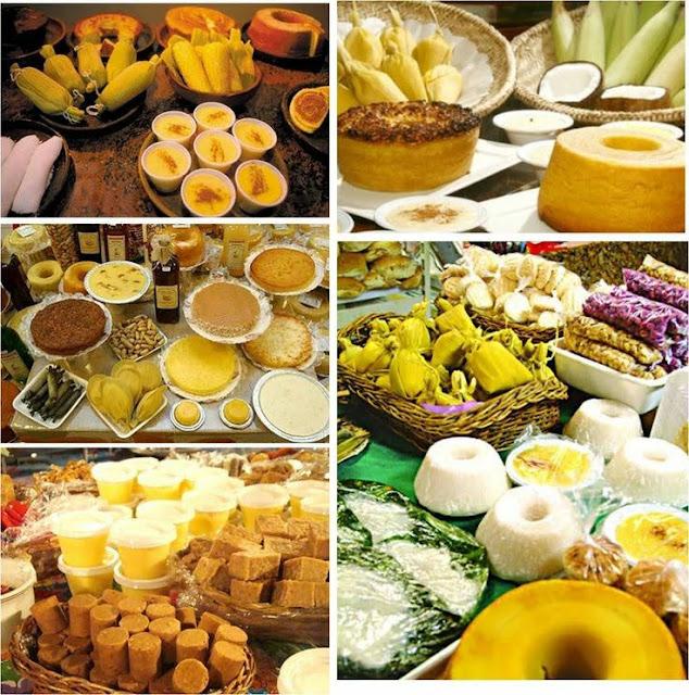 A foto representa uma coleção de pratos à base de milho das festas juninas do Nordeste do Brasil.