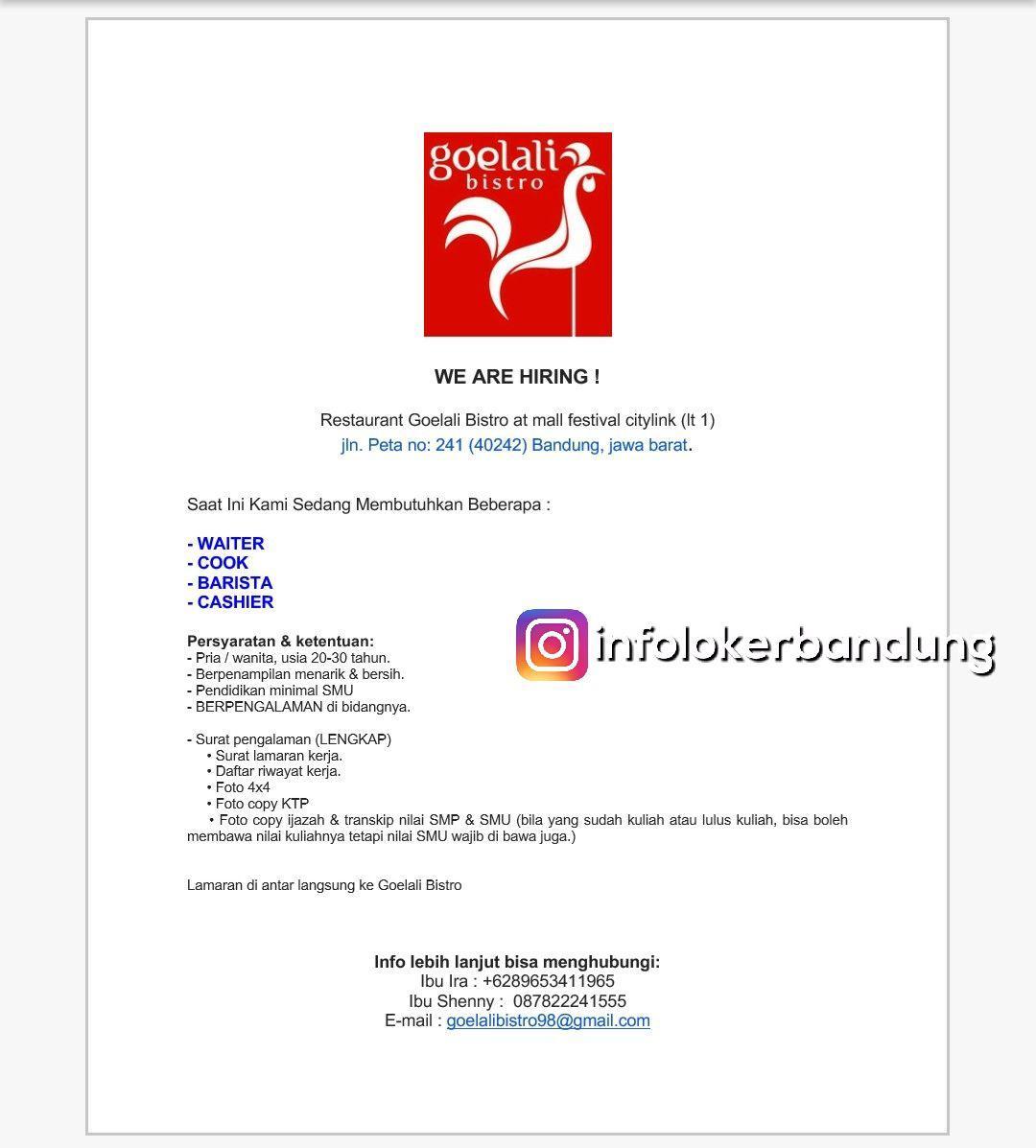 Lowongan Kerja Restaurant Goelali Bistro Bandung Desember 2017