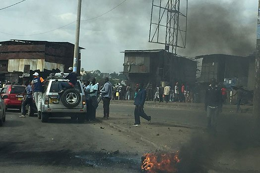 The police were today served with much more than they could handle after NASA supporters making their entry into Mombasa Road burnt their lorry alongside a Kayole bound bus.