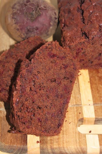 Sliced chocolate beet root cake.